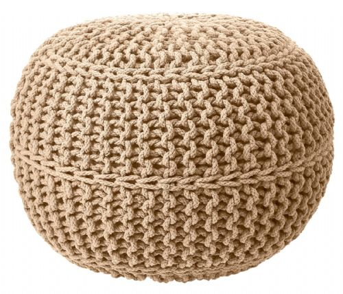 100% COTTON ROUND FOOT STOOL BRAIDED HANDMADE CUSHION DOUBLE KNITTED POUFFE CAPPUCCINO BEIGE COLOUR